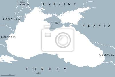 Obraz Morze Czarne I Morze Azowskie Mapa Polityczna Ze Stolicami I