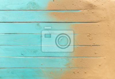 Obraz Morze piasku na niebieskim drewnianej podłodze, widok z góry z miejsca na kopię