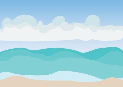 Morze plaża i niebieskie niebo z obłoczną ilustracją