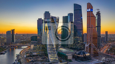 Obraz Moscow city skyline aerial view, Moscow International Business and Financial Center at sunset with Moscow river, Russia.