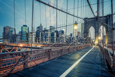 Obraz Most Brookliński nocą, NYC.