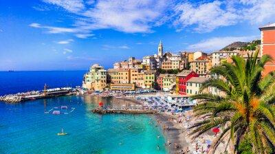 Obraz Most colorful coastal towns near Genova - beautiful Bogliasco village in Liguria with nice beach. Italy summer destinations