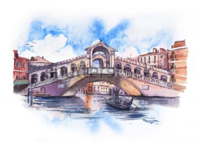 Obraz Most Rialto w Wenecji z niebieskim pochmurne niebo, akwarela malarstwo.