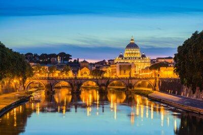 Obraz Most Sant'Angelo i Bazylika Świętego Piotra - Rzym - Włochy