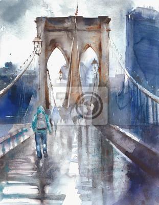 Obraz Mosta Brooklyńskiego NYC architektury punktu zwrotnego miejsca przeznaczenia akwareli miejsca przeznaczenia turystycznego ilustracyjnego obrazu