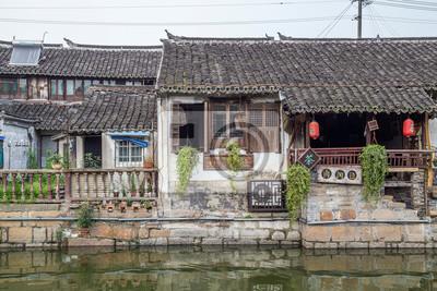 Mosty, kanały z Fengjing Zhujiajiao starożytnego miasta wody