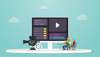 Obraz motion design concept with people designer and computer screen with modern flat style