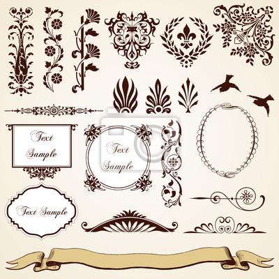 Motywy Dekoracyjne Zestaw Zabytkowe Projektowania Kwiatowy Wiktoriański Obrazy Redro