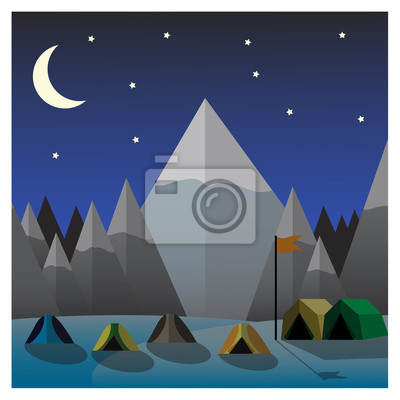 Obraz Mountain camp at night. Flat design vector illustration