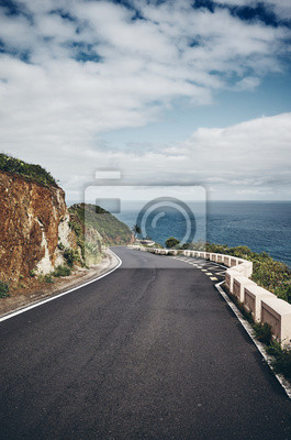 Mountain curvy road on Tenerife island, color toned picture, Spain.