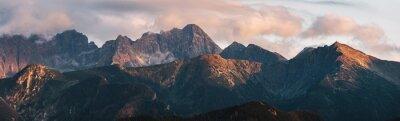 Obraz Mountain peaks at sunset. Tatra Mountains in Poland.