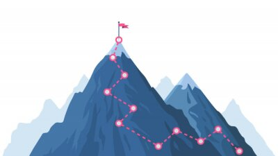 Obraz Mountain progression path. Climbing progress route, mountain peak overcoming, mountain climbing path with red flag on top vector illustration. Way path infographic, progress way to peak