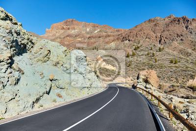 Mountain road in Teide National Park, Tenerife, Spain