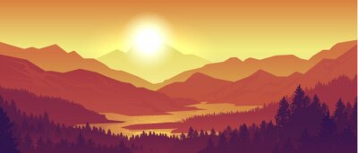 Obraz Mountain sunset landscape. Realistic pine forest and mountain silhouettes, evening wood panorama. Vector illustration wild nature background