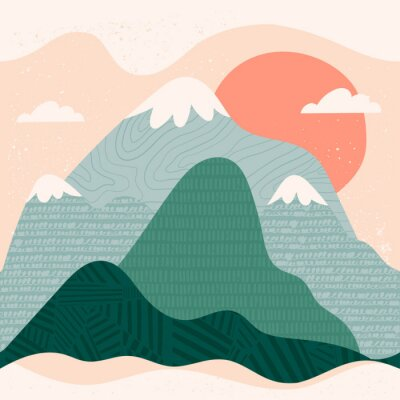 Obraz Mountain view. Mountains, hills, clouds, sun. Paper cut style. Flat abstract design. Scandinavian style illustration. Stamp texture. Hand drawn trendy vector seamless pattern