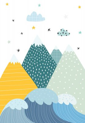 Obraz Mountains and waves in a scandinavian style. Illustration of nature for children. Vector illustration with a simple objects.