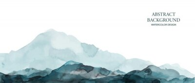 Obraz Mountains, hills abstract panorama. Blue, grey watercolor wash. Modern minimal abstract background. Landscape painting.