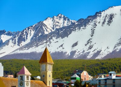 Mountains over Ushuaia, capital of Tierra del Fuego Province and the southernmost city in the world, Argentina.