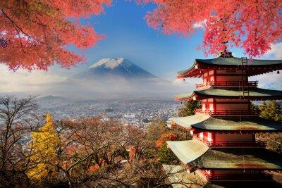 Obraz Mt. Fuji z spadek kolory w Japonii.