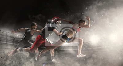 Obraz Multi sports collage about basketball, American football players and fit running woman