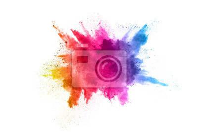 Obraz Multicolor powder explosion on White background. Colored cloud. Colorful dust explode. Paint Holi.