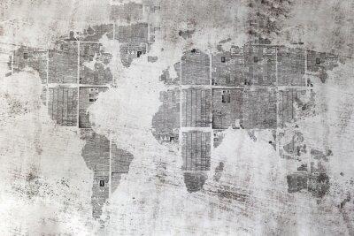 Obraz Muro grigio con collage di Fogli di giornali forma del mondo