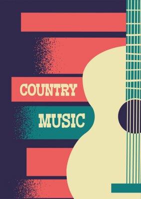 Obraz Muzyka country tło z gitarą akustyczną instrumentu muzycznego i tekstem dekoracji.