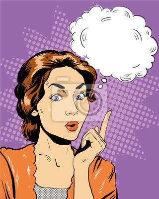 Myślenie kobieta z bąblu. Ilustracja wektora w stylu retro pop sztuki komiksu w stylu