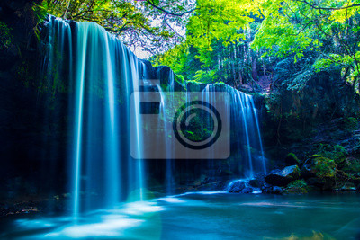 Obraz Nabegatai, waterfall in forest, Kumamoto Japan
