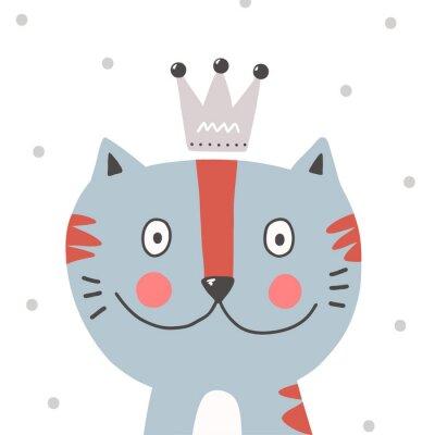 nadruk z rysunkowym kotem