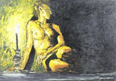 Obraz naga dziewczyna, obraz olejny