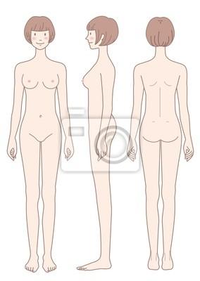 e3ca809196b9d0 Obraz Nagie ciało w bok z przodu Widok z tyłu kobiety na wymiar ...