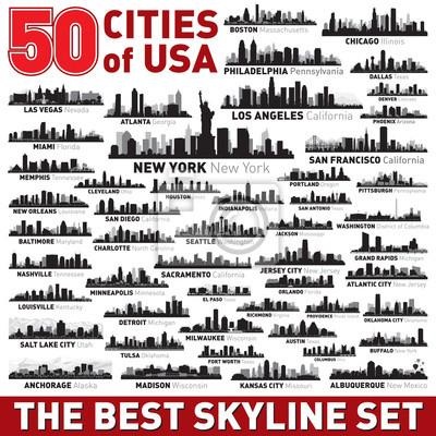 Obraz Najlepsze wektor sylwetki panoramę miasta ustawić