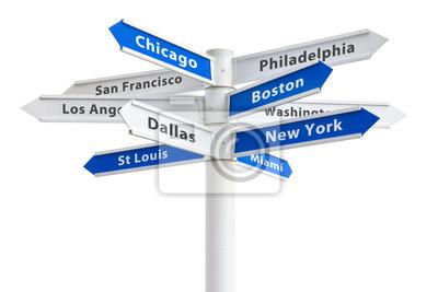 Największych miastach USA na znak Crossroads