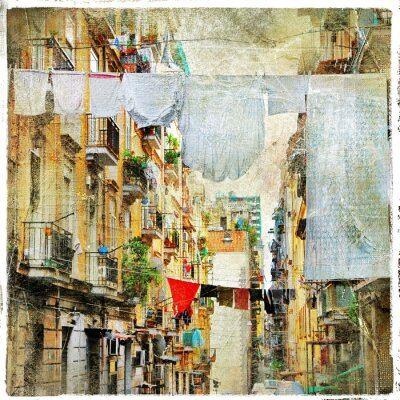 Napoli - tradycyjne stare włoskie uliczki, artystyczny obraz w pa