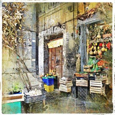 Obraz Napoli, Włochy - stare uliczki z małym sklepie, obrazu artystycznego