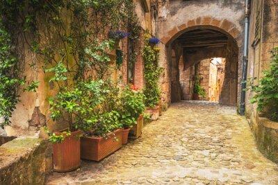 Obraz Narożniki średniowiecznych miast Toskanii we Włoszech