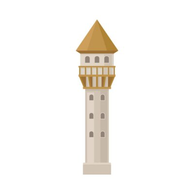 Obraz Narrow tower of the castle. Vector illustration on a white background.