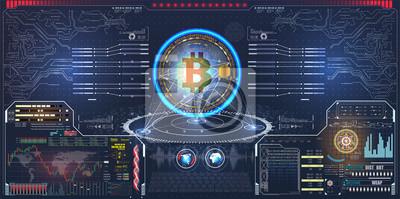narzędzia handlowe dla udanego handlu. Pakiet elementów HUD. Plansza elementów. Bitcoin cyfrowa waluta, futurystyczny cyfrowy pieniądze, technologii sieci ogólnoludzki pojęcie, wektorowa ilustracja