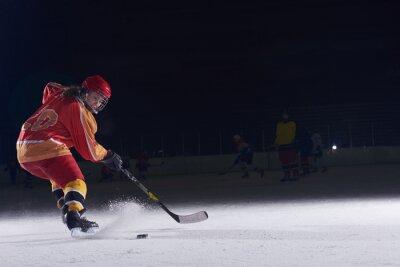 Obraz nastolatek hokeista w akcji