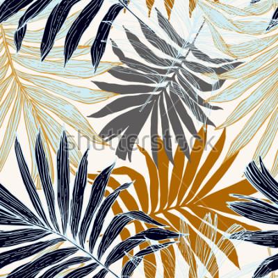 Obraz Natura wzór. Ręcznie opracowane tropikalne tło lato: palmy pozostawia w sylwetce, grafika liniowa. Obejmuje sztuki ilustracji w złotych retro kolorach