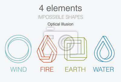 Obraz Nature infographic elements on dark background. Impossible shapes and optical illusion. Line symbols with air, fire, earth, water. Alternative energy sources and eco logo