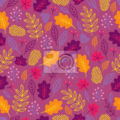 Nature seamless pattern with berries, leaves, branches