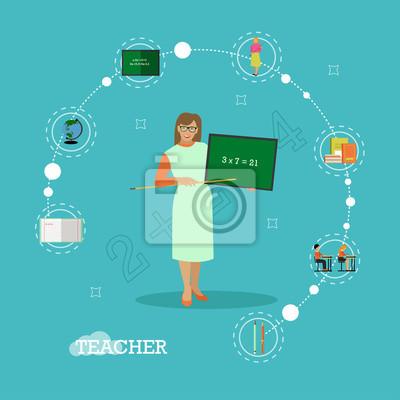 Nauczyciel szkoły z ilustracji wektorowych chalkboard w stylu płaskim stylu
