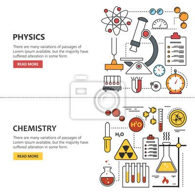 Nauka banery wektorowe koncepcje w stylu linii. Chemia i fizyka elementy projektu, symbole, ikony.