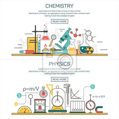 Nauka banner vector koncepcje w stylu linii. Chemia oraz elementów fizyki. Obszar roboczy laboratoryjny, sprzęt naukowy.