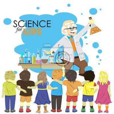 Nauka dla dzieci. Cartoon naukowiec pokazuje dzieciom chemii