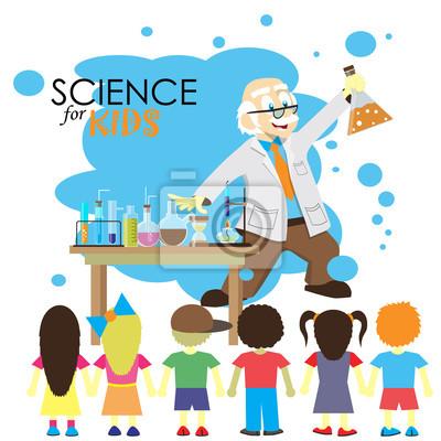 Obraz Nauka dla dzieci. Cartoon naukowiec pokazuje dzieciom chemii