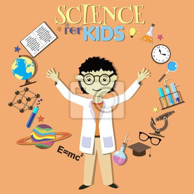 Nauka dla dzieci. Cartoon naukowiec, zbiór nauki