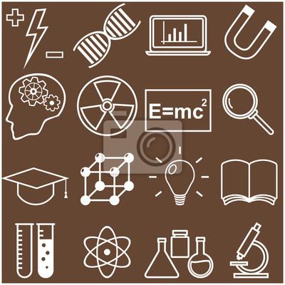 Obraz Nauka i Edukacja płaską linię ikony. Ilustracji wektorowych